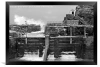 Portreath Harbour in Monochrome, Framed Print