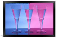 Two Colour Three Wine Glasses, Framed Print