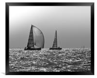 Yachts heading home, Solent, Framed Print