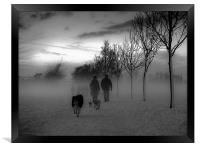 Dog walkers in the winter mist, Framed Print