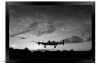 Lancasters taking off at sunset B&W, Framed Print