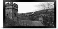 Lancaster PA474 at the Derwent Dam black and white, Framed Print