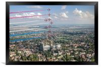 Red Arrows over Lincoln smoke on, Framed Print