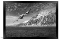 RAF Mosquitos in Norway fjord attack B&W version, Framed Print