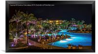 Evening picture of the swimming pool area on a res, Framed Print
