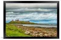 Dunstanbrugh Castle No 2 on a blustery day , Framed Print