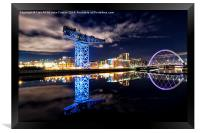 Finnieston Crane and Clyde Arc by night, Framed Print