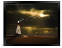 lighthouse and lightning storm, Framed Print