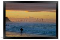Surfers Paradise from Palm Beach at Sunset, Framed Print
