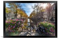 Iconic Amsterdam canal view with bicycle parked be, Framed Print