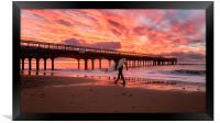Surfer at Sunrise Bournemouth Beach, Framed Print