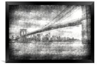 Brooklyn Bridge Vintage , Framed Print