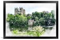 Durham Cathedral Digital Watercolour, Framed Print