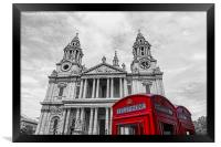 Red Phone boxes in front of black and white St Pa, Framed Print