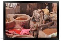 Leather Tannery in Fes, Framed Print