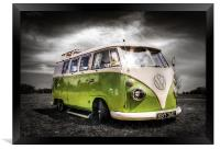 Green split screen VW camper van, Framed Print