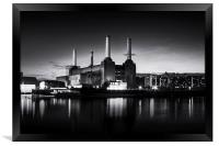 Battersea Power Station in monochrome, Framed Print