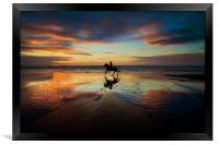 Horse Rider reflections at Widemouth Beach, Framed Print