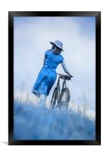 woman with bicycle in field, Framed Print