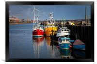 Fishing boats in harbour, Framed Print