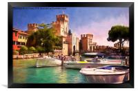 Sirmione Scaliger Castle with artistic filter, Framed Print
