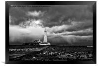 Storm clouds over St Mary's Island, Framed Print