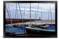 Tynemouth Pier and sailing boats, Framed Print