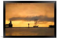Sailing away into a soft focus morning, Framed Print