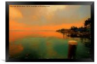 Sirmione at dusk in the style of a Turner Sunset, Framed Print