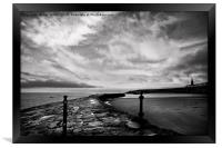 Early morning at Cullercoats Bay in B&W, Framed Print