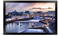 Tenby Harbour in the Snow, Framed Print