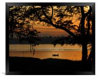 Fishing at sunset, Framed Print