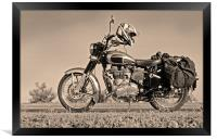 Touring Motor cycle parked on Roadside, Framed Print