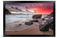 Lusty Glaze Cove at Sunset, Framed Print