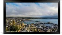 Beautiful Aerial view of Penzance and the harbour, Framed Print