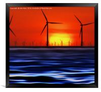 Wind Farms in the Sunset (Digital Art), Framed Print