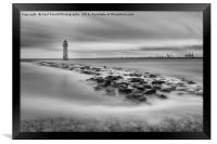 High tide at Perch Rock lighthouse in New Brighton, Framed Print