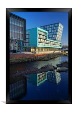 Modern Apartment Buildings next to River Don, Framed Print