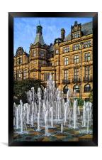 Sheffield Town Hall and Goodwin Fountain , Framed Print