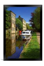 Canal Reflections at Hebden Bridge , Framed Print