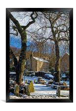 Bamford Village in Winter, Framed Print