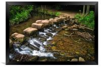 Endcliffe Park Stepping Stones and Falls          , Framed Print