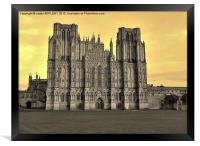SEPIA WELLS CATHEDRAL WEST FRONT, Framed Print