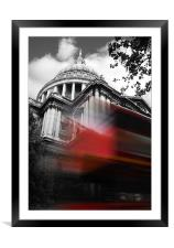 St Pauls Cathedral and a London Bus, Framed Mounted Print
