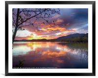Lake of Menteith autumn sunset, Framed Mounted Print
