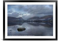 Grasmere lake with low cloud on a winter's day, Framed Mounted Print