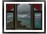 Lofoten Islands, looking out from our window, Framed Mounted Print