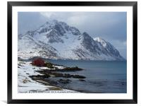 Fisherman's cabin in the snow on the fjord Lofoten, Framed Mounted Print