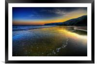 Blue And Gold Beach Sunrise, Framed Mounted Print