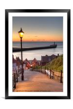 Whitby Steps - Orange Glow, Framed Mounted Print